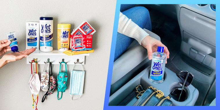 Illustration of a Woman using WetOnes products and a WetOnes hand sanitizer in a car
