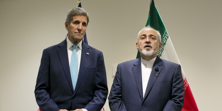 Image: Secretary of State John Kerry with Foreign Affairs Minister of Iran Javad Zarif during a bilateral talk at the United Nations headquarters