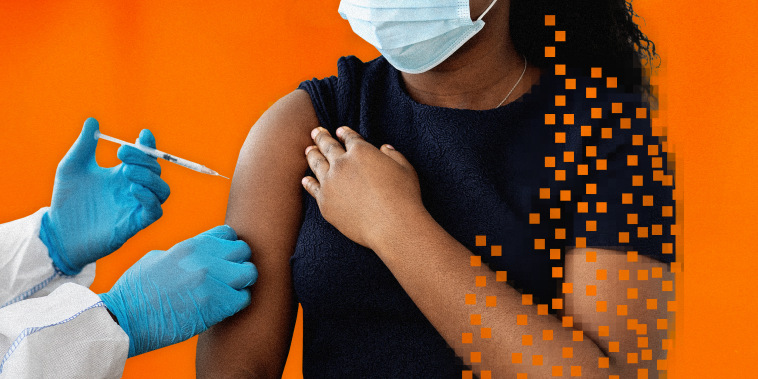 Illustration shows a Black woman receiving a vaccine with glitchy, pixelated parts of her arm and body missing.