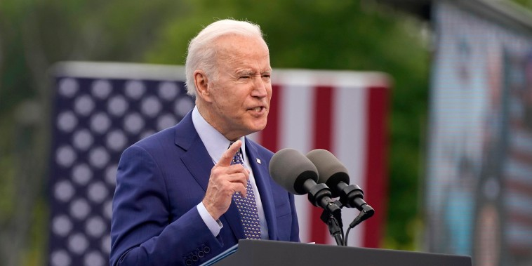 Image: President Joe Biden speaks during a rally at Infinite Energy Center, to mark his 100th day in office