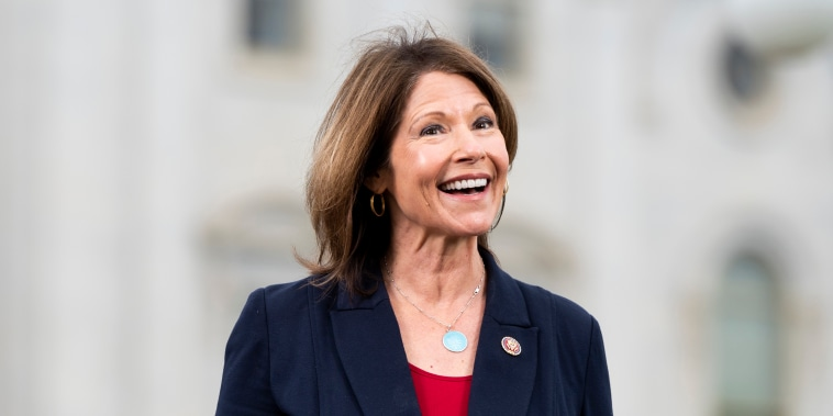 Rep. Cheri Bustos, D-Ill., outside of the U.S. Capitol on April 23, 2020.