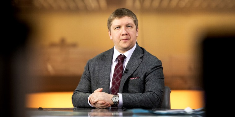 Andriy Kobolyev, chief executive officer of NAK Naftogaz Ukrainy, during a Bloomberg Television interview in London on March 21, 2018.