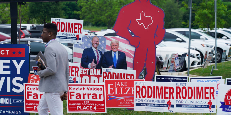 An early voting location opens in Mansfield, Texas on April 27, 2021.