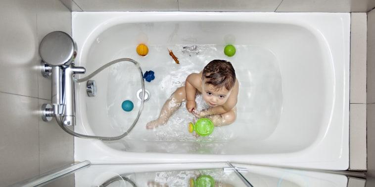 Baby on bathtub