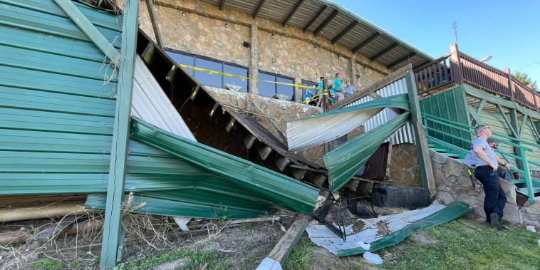 Collapsed deck at Zoi's Restaurant in Hamilton County, Tennessee.