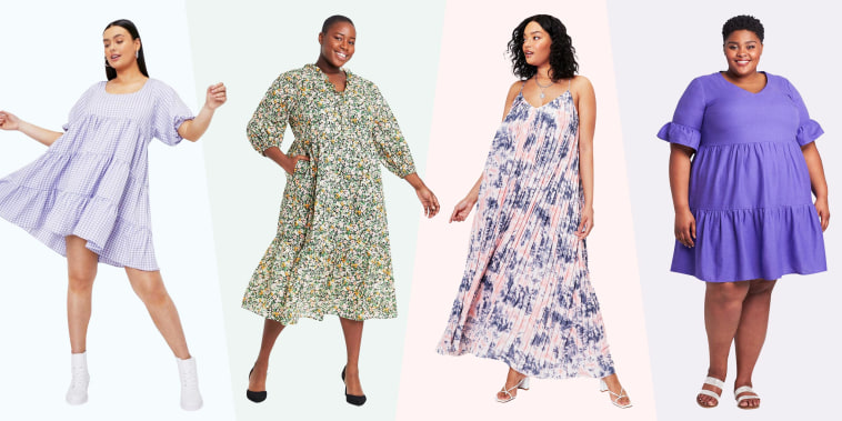 Illustration of four Woman wearing floral dresses in plus-size