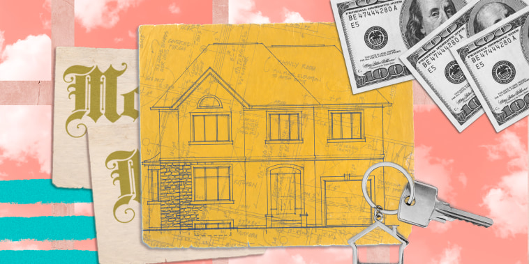 Collage of house blue print, keys and money