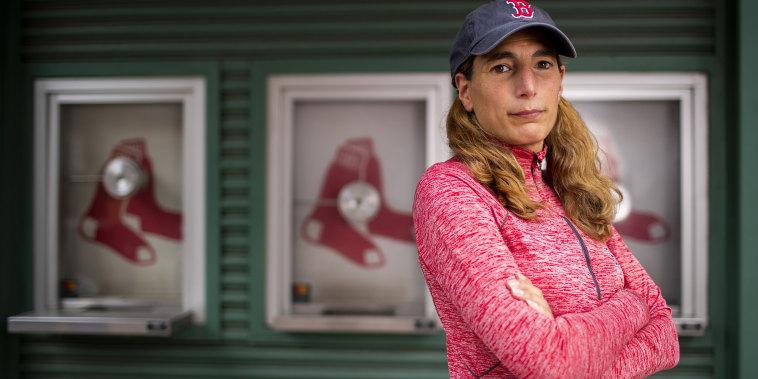 Image: Fenway Park vendor Heidi Hashem poses for a portrait on Lansdowne Street outside of Fenway Park on April 28, 2021 in Boston.