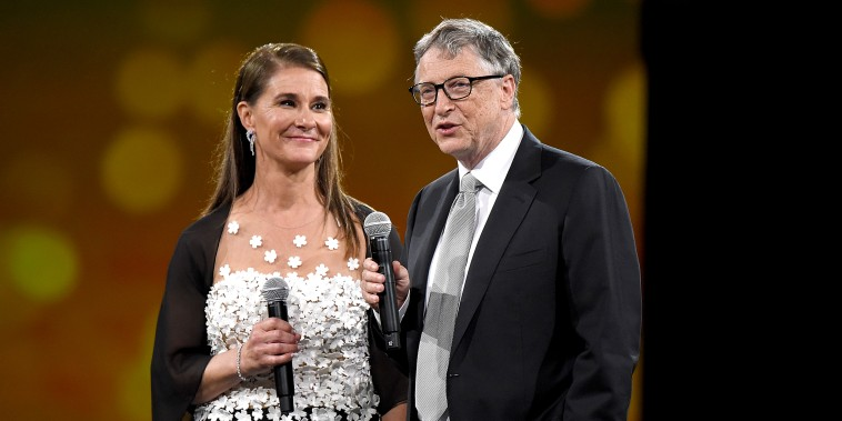 Melinda Gates and Bill Gates speak on stage during The Robin Hood Foundation's 2018 benefit on May 14, 2018 in New York.