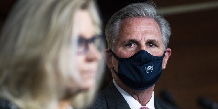 House Minority Leader Kevin McCarthy, R-Calif., and Republican Conference Chair Liz Cheney, R-Wyo., speak to the media on Capitol Hill on Sept. 23, 2020.