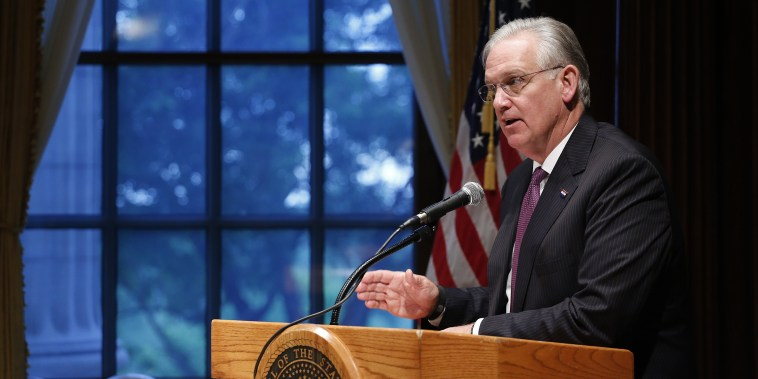 Then-Missouri Gov. Jay Nixon speaks during a news conference on May 13, 2016, at the Capitol in Jefferson City, Mo.