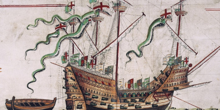 The Mary Rose, flagship of the fleet of Henry VIII.