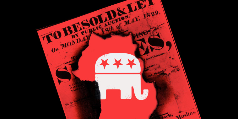 Photo illustration: The GOP logo behind a burnt hole in a poster for a slave auction.