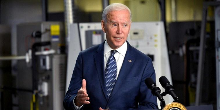 Image: President Joe Biden speaks following a tour of Tidewater Community College in Norfolk, Va., on May 3, 2021.