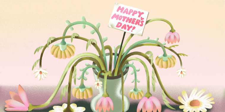 "Illustration of a wilted bouquet of flowers with a ""Happy Mother's Day!\"" sign."