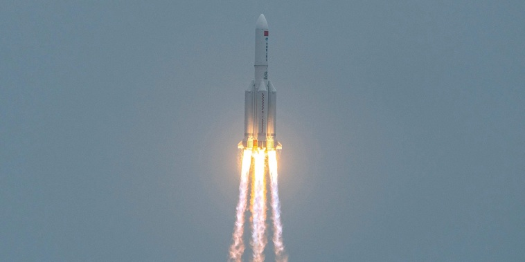 Image: A Long March 5B rocket, carrying China's Tianhe space station core module, lifts off from the Wenchang Space Launch Center in southern China's Hainan province on on April 29, 2021.