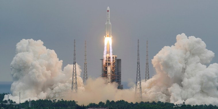Image: The Long March-5B Y2 rocket, carrying the core module of China's space station Tianhe, takes off from Wenchang Space Launch Center in Hainan province, China April 29, 2021.