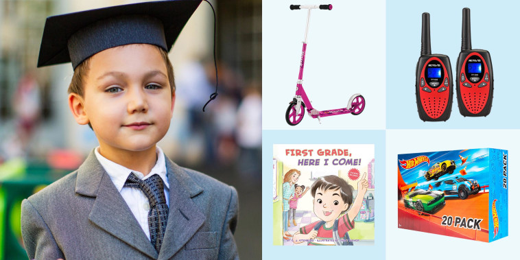 Illustration of Little boy wearing a graduation cap and suit at his graduation, a razor scooter, Book, Hot Wheels, and 2 red and black walkie talkies