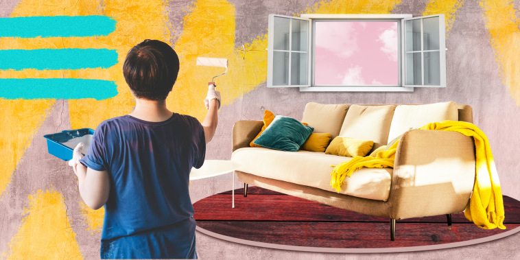 Illustration of woman painting a living room wall in bright yellow