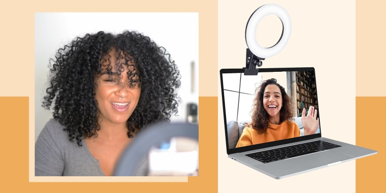 Illustration of a Woman looking into a ring light and a clip on ring light on a computer