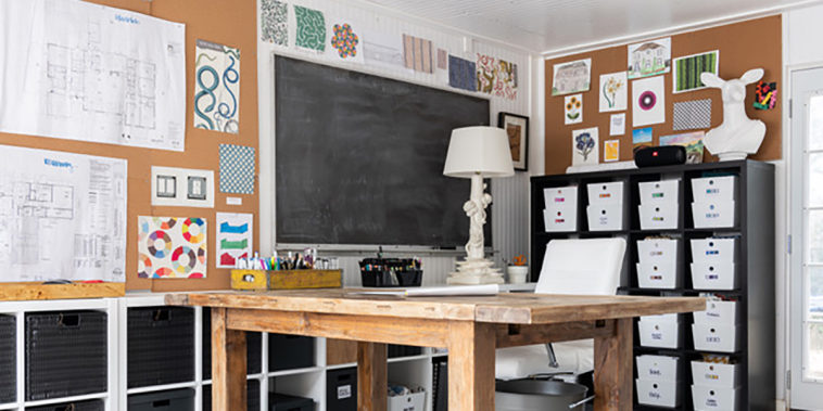 Image of a desk/home office in a garage.