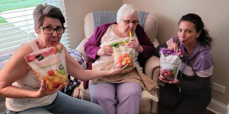 Traci Thomas juice-box-sippin' with her aunt and her 93-year-old grandmother, Marge.