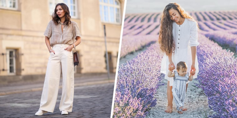 Split image of a Mom and baby daughter having fun laughing and walking in lavender field and a Woman wearing a linen yellow shirt