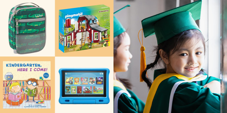 Illustration of a little girl wearing a graduation cap and gown while standing inside school, a lunch box, board game, book and Amazon Kindle
