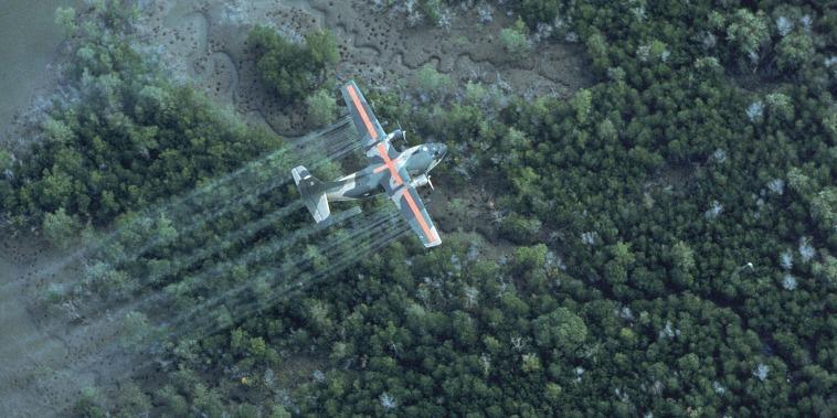 Image: USAF UC 123K plane spraying dioxin-tainted herbicide/defoliant Agent Orange in Vietnam,