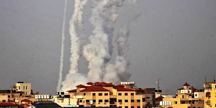 Rockets are fired from Gaza City towards Israel on May 10, 2021.