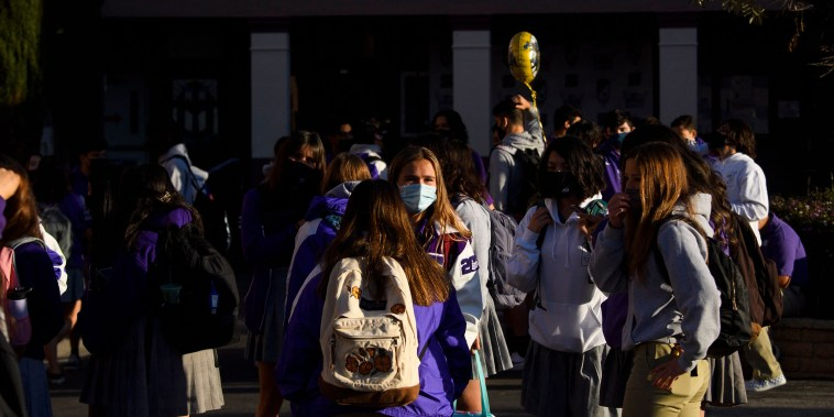 Image: Students return to in-person learning at St. Anthony Catholic High School on March 24, 2021 in Long Beach, Calif.