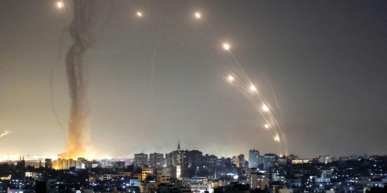 Image: Rockets are launched towards Israel from Gaza City, controlled by the Palestinian Hamas movement