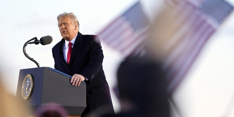 Image: President Donald Trump speaks before boarding Air Force One at Andrews Air Force Base, Md.,