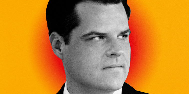 Illustration of a photo of Matt Gaetz on a background with a blurry red spot.