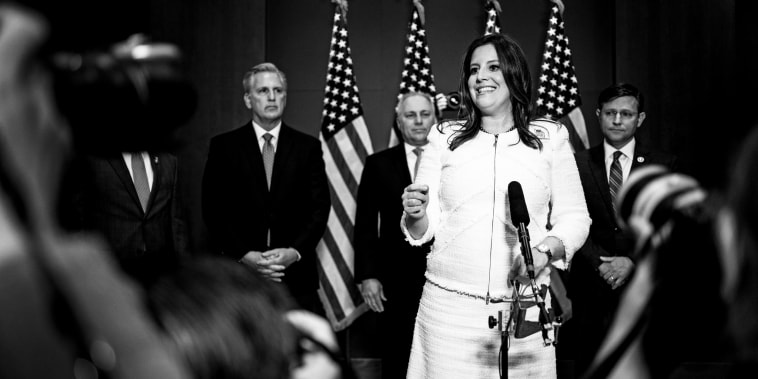 Rep. Elise Stefanik, R-N.Y., speaks during a news conference after the GOP Conference Chair election on Capitol Hill on May 14, 2021.