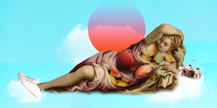 Photo illustration: Mangoes and peaches form the curves of a woman in a painting wearing white sneakers, lying over clouds with an ice-cream sundae.
