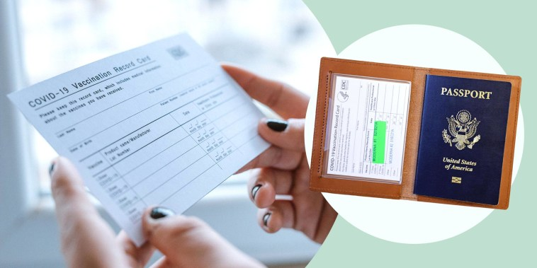Illustration of a Woman holding a blank COVID 19 vaccine card and a passport and card holder