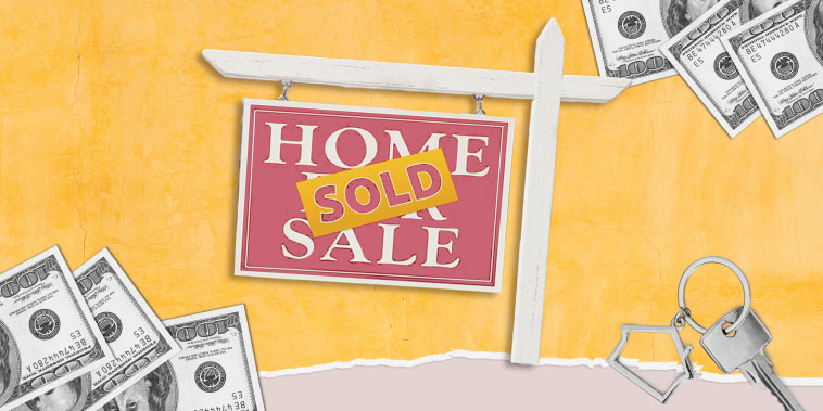 Illustration of a sold sign with house keys