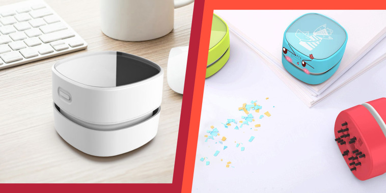 Illustration of the Odistar Desktop Vacuum on a desk and the Odistar Desktop Vacuum in three different colors
