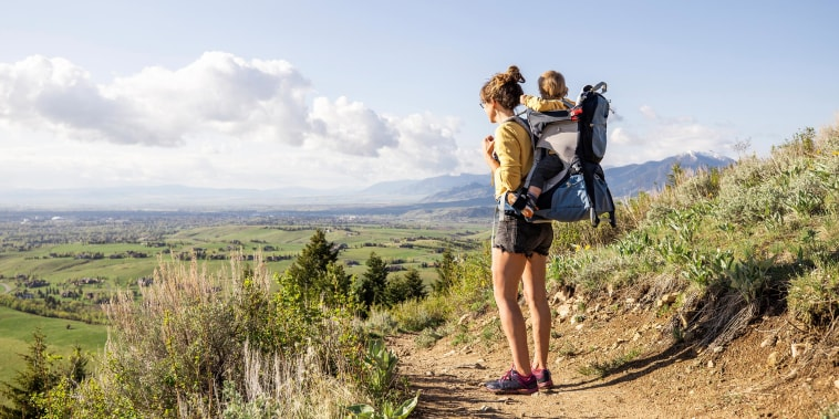 A mother and her son out hiking
