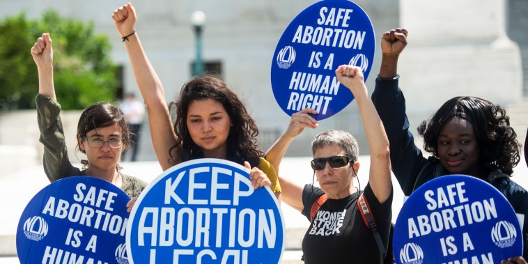 Abortion rights activists rally in front of the Supreme Court in Washington on May 21, 2019.