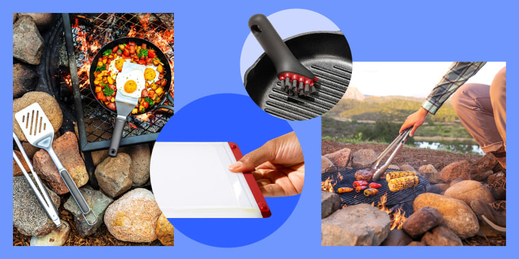 Illustration of a cutting board, cast iron scrubber, lifestyle images of eggs cooking on a grill and a man grilling outdoors using tongs. OXO Outdoor is OXO's first line of outdoor cooking gear. Shop outdoor cooking essentials including grill tongs, pans,