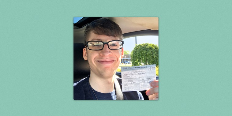 20-year-old Ethan Lindenberger after getting his first Covid-19 vaccination.