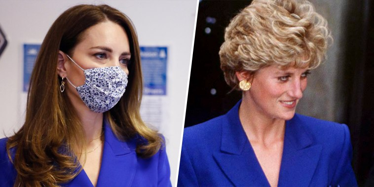 Kate channels Diana in latest blue ensemble.