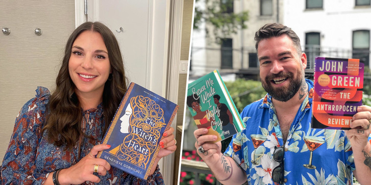 Victoria Aveyard and Isaac Fitzgerald holding up their books on broadcast