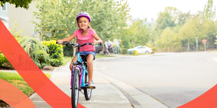 Illustration of a little girl riding bicycle on sidewalk