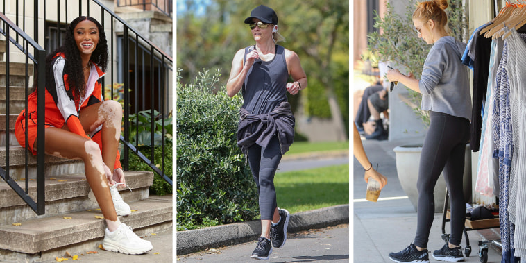 Reese Witherspoon, Julianne Hough and Winnie Harlow outside wearing different styles of the Hoka Sneaker