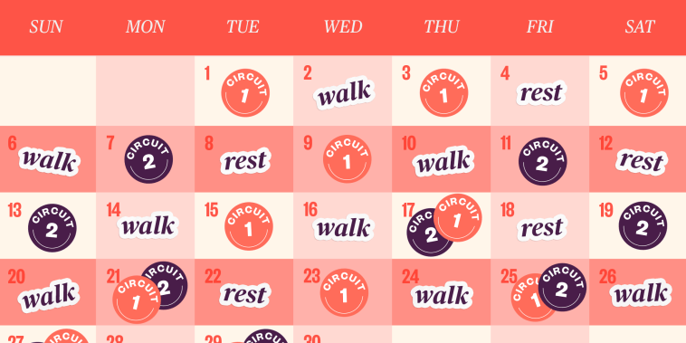 Walking Interval Calendar