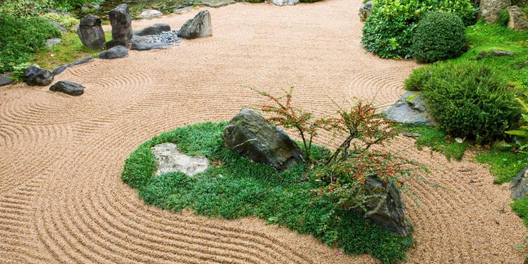 View of a backyard Zen Garden