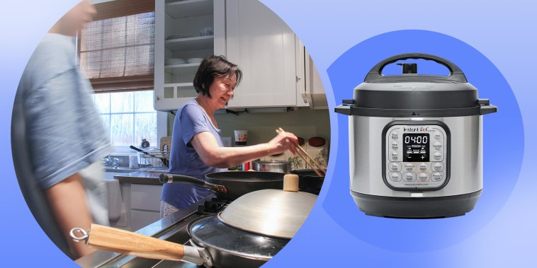 Illustration of Kala Herh and her Grandmother and an Instant pot Duo. The Instant Pot Duo was gifted to me by my Taiwanese grandmother. Shop the Instant Pot and other cooking essentials for making traditional Chinese meals.